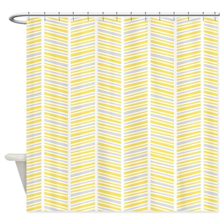 yellow and gray herringbone pattern shower curtain by cutetoboot. Black Bedroom Furniture Sets. Home Design Ideas