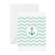 Mint Chevron with anchor Greeting Cards