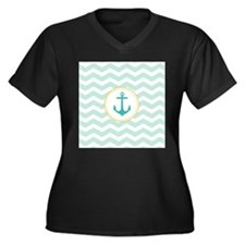 Mint Chevron with anchor Plus Size T-Shirt