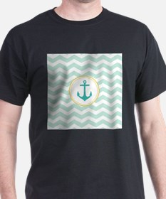 Mint Chevron with anchor T-Shirt