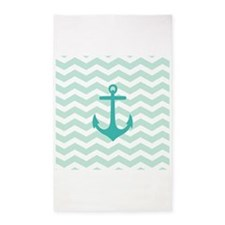 Mint Anchor Chevron 3'x5' Area Rug