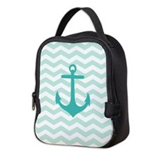 Mint Anchor Chevron Neoprene Lunch Bag