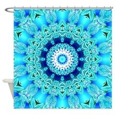 Blue Ice Glass Shower Curtain
