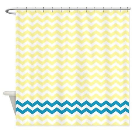 Yellow And Teal Chevrons Shower Curtain By Laughoutlouddesigns1