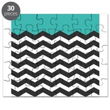 Turquoise Black and white Chevron Puzzle