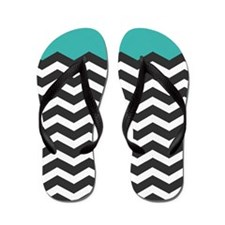 Turquoise Black and white Chevron Flip Flops