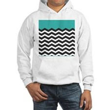 Turquoise Black and white Chevron Jumper Hoody