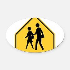 School Zone Oval Car Magnet