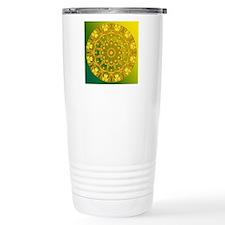 Yellow Green Wheel of Fire Travel Mug