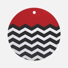 Red Black and white Chevron Ornament (Round)