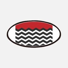 Red Black and white Chevron Patches