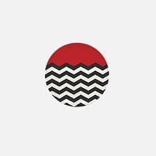 Red Black and white Chevron Mini Button