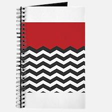 Red Black and white Chevron Journal
