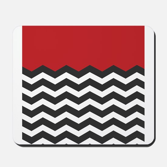 Red Black and white Chevron Mousepad