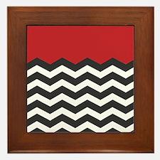 Red Black and white Chevron Framed Tile