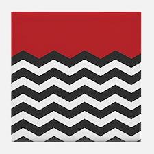 Red Black and white Chevron Tile Coaster