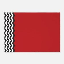 Red Black and white Chevron 5'x7'Area Rug