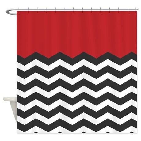Red Black And White Chevron Shower Curtain By Admin CP49789583