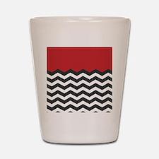 Red Black and white Chevron Shot Glass