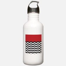 Red Black and white Chevron Sports Water Bottle