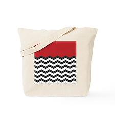 Red Black and white Chevron Tote Bag