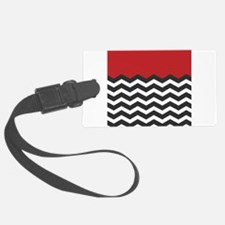 Red Black and white Chevron Luggage Tag