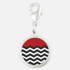 Red Black and white Chevron Charms