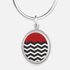 Red Black and white Chevron Necklaces