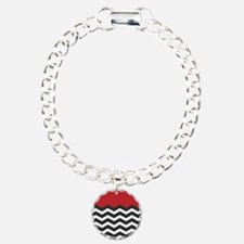 Red Black and white Chevron Bracelet