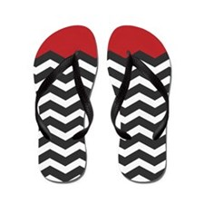 Red Black and white Chevron Flip Flops