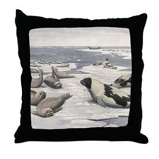 Vintage Marine Life, Seals Throw Pillow