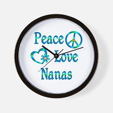 Peace Love Nanas Wall Clock