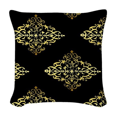 Black White And Gold Throw Pillows : Decorative Gold and Black Woven Throw Pillow by GraphicAllusions