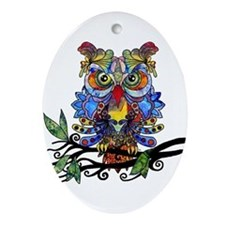 wild owl Ornament (Oval)