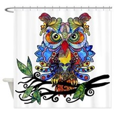 wild owl Shower Curtain