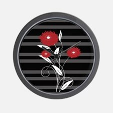 Modern red Black and gray floral Wall Clock