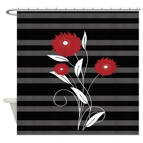 Modern Red Black And Gray Floral Shower Curtain By