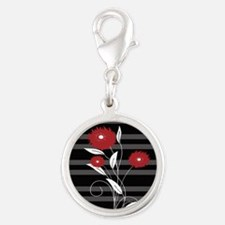 Modern red Black and gray floral Charms