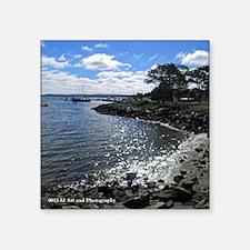 "Plymouth Harbor Square Sticker 3"" x 3"""