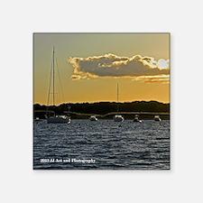 "Sailboat Sunset Square Sticker 3"" x 3"""