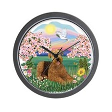 Blossoms- Airedale 5.png Wall Clock