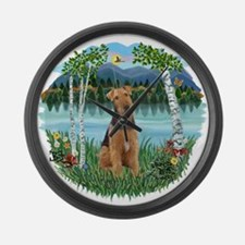 Birches - Airedale 1.png Large Wall Clock