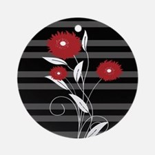 Modern red Black and gray floral Ornament (Round)