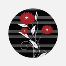 """Modern red Black and gray floral 3.5"""" Button"""