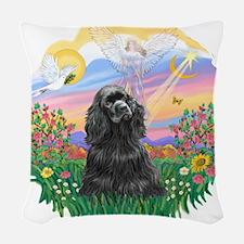 Guardian-Black Cocker.png Woven Throw Pillow