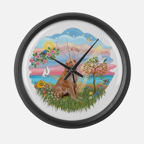 Angel Star - Golden 1.png Large Wall Clock