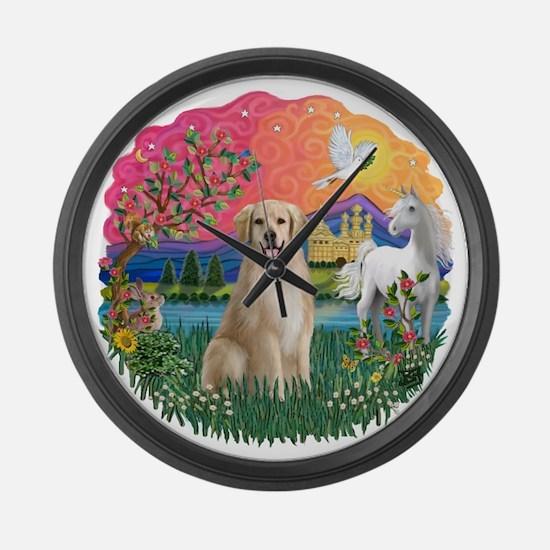 FantasyLand-Golden8.png Large Wall Clock