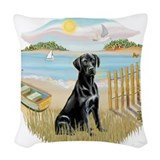 Black lab  in a boat Woven Pillows