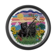 AutumnSun-Two Black Pugs.png Large Wall Clock