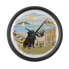 Row Boat-TwoPugs (F+B).png Large Wall Clock